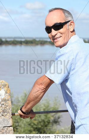 Middle-aged man on holiday abroad