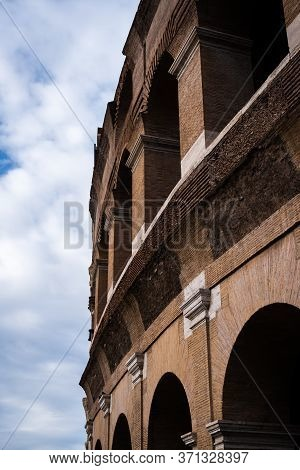 Close-up On The Most Recent Part Of The Colosseum In Rome, Italy