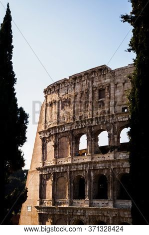 Sun Light On The Beautiful Coliseum In Rome, Italy