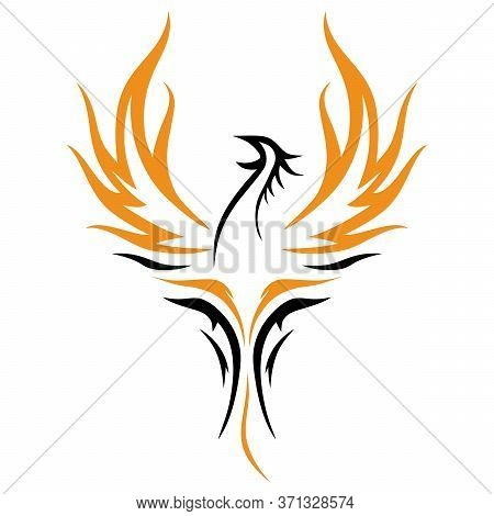 Phoenix Rising Wings Logo Design Vector Template. Luxury Corporate Falcon Eagle Hawk Bird Logotype C