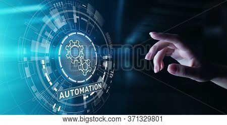 Automation Work Flow Business Process Optimisation Smart Industry Modern Manufacturing Concept On Vi