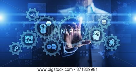 Nlp Natural Language Processing Cognitive Computing Technology Concept On Virtual Screen.