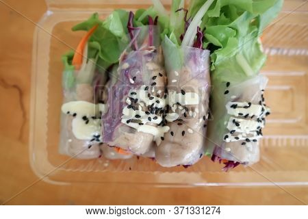 Rice Roll, Fresh Roll Or Vegetable Roll In The Box