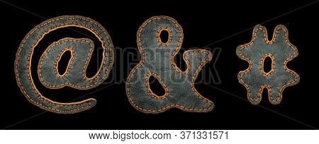Set of symbols at, ampersand and hash made of leather. 3D render font with skin texture isolated on black background. 3d rendering