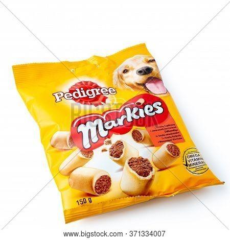 Latvia, Riga, June 12, 2020: Pedigree Markies  Dog Snack Pak