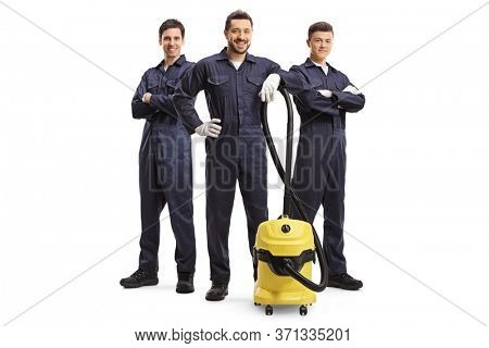 Full length portrait of male cleaners with a vacuum cleaner isolated on white background