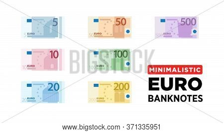 Euro Money Banknotes Of Europe, Flat And Minimalistic Paper Money - One Size. Vector Illustration