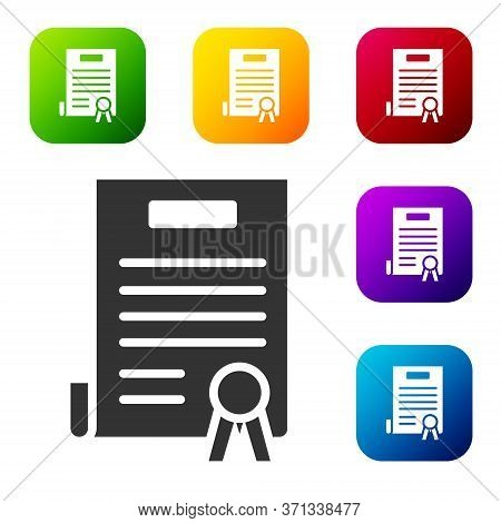 Black Declaration Of Independence Icon Isolated On White Background. Set Icons In Color Square Butto