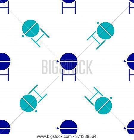 Blue Barbecue Grill Icon Isolated Seamless Pattern On White Background. Bbq Grill Party. Vector Illu