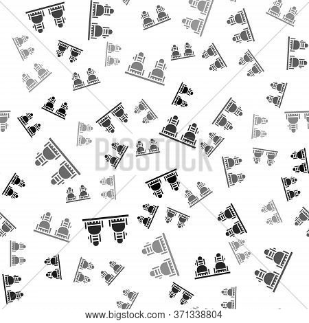 Black Snowboard Icon Isolated Seamless Pattern On White Background. Snowboarding Board Icon. Extreme