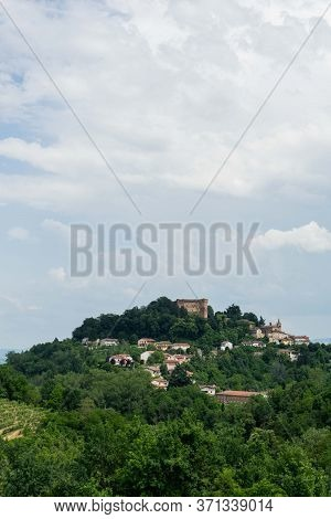 View Of Monticello D'alba With Castello, Piedmont Italy
