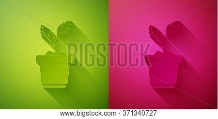 Paper Cut Plant In Pot Icon Isolated On Green And Pink Background. Plant Growing In A Pot. Potted Pl