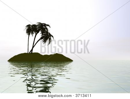 Romantic Desert Island With Palm Tree