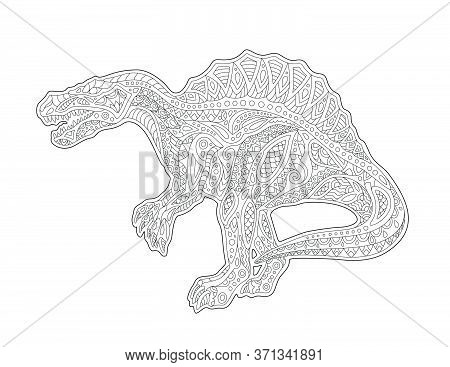Beautiful Monochrome Linear Illustration For Adult Coloring Book With Cartoon Spinosaurus On The Whi