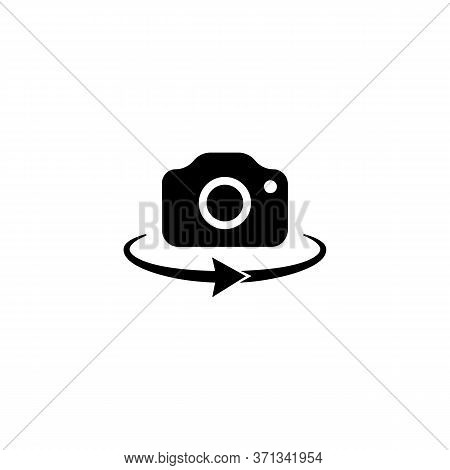Camera 360-degree View. Panorama Camera Photo Icon On Isolated White Background. Front Camera Swap.