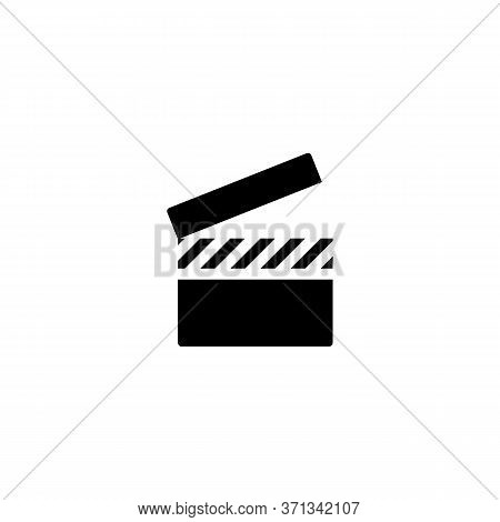 Movie Slate Icon In Black Simple Design On An Isolated White Background. Eps 10 Vector