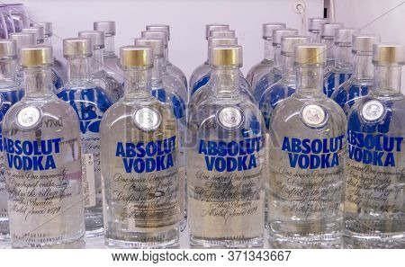 St. Petersburg, Russia - July 9, 2017: Bottles Of Absolut Vodka On Sale In The Duty Free Store In Pu