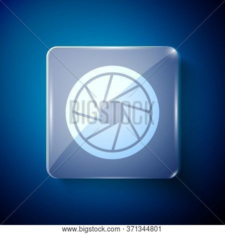 White Camera Shutter Icon Isolated On Blue Background. Square Glass Panels. Vector Illustration