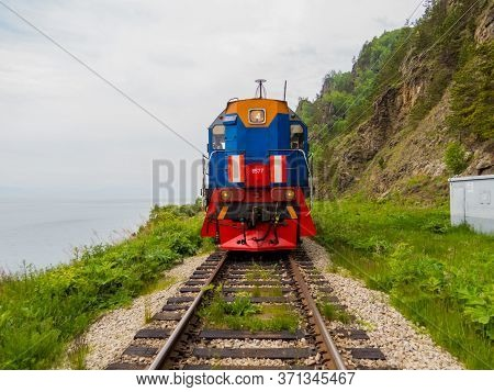 Lake Baikal, Russia - June 14, 2018: View Of The Circum-baikal Express, The Train That Goes Around T