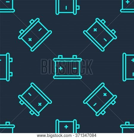 Green Line Car Battery Icon Isolated Seamless Pattern On Blue Background. Accumulator Battery Energy