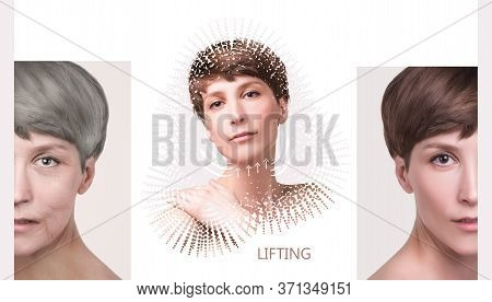 Anti-aging, Beauty Treatment, Aging And Youth, Lifting, Skincare, Plastic Surgery Concept. Beautiful