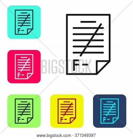 Black Line Exam Paper With Incorrect Answers Survey Icon Isolated On White Background. Bad Mark Of T