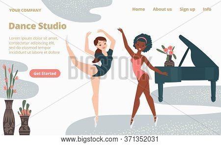 Ballet School Dance Studio Landing Web Page, Concept Banner Website Template Cartoon Vector Illustra
