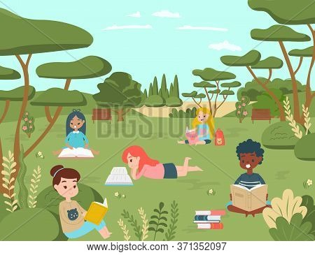 Kid Children Character Read Book In National Natural Park, Kid Relax Outdoor Place Concept Cartoon V