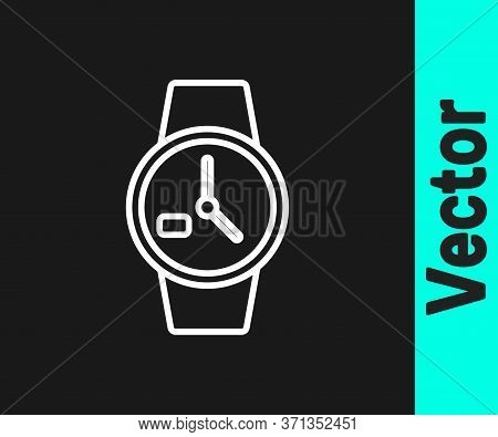 White Line Wrist Watch Icon Isolated On Black Background. Wristwatch Icon. Vector Illustration