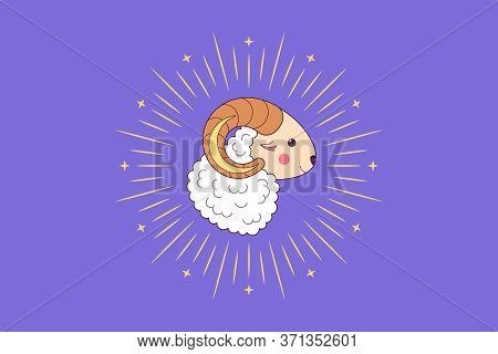 Muslim Holiday Eid Al Adha Mubarak. Feast Of The Sacrifice, Cute Sheep With Crescent, Rays And Stars