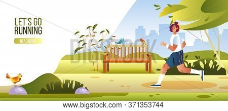Let's Go Running Banner With Healthy Female Character Jogging In City Park. Vector Illustration With