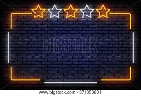 Stars Neon Sign Vector. Vip, Five Stars Neon Frame Design Template, Light Banner, Night Signboard, N