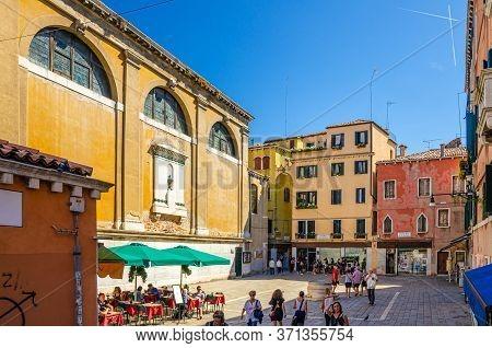 Venice, Italy, September 13, 2019: Campo San Cassiano Square With Chiesa Di San Cassiano Catholic Ch