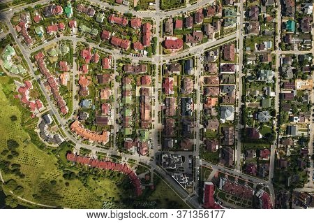 Aerial Photography From Above Of A Large Number Of Houses In The Eastern District Of Minsk.the Distr