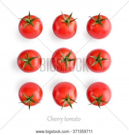 Fresh Red Cherry Tomatoes Isolated On White Background, Top View.