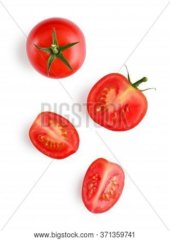 Fresh Red Cherry Tomatoes Isolated On White Background, Top View. Clipping Path Included