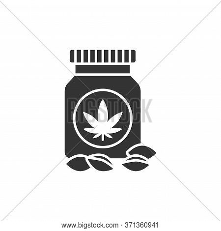 Jar Marijuana Seeds Black Glyph Icon. Narcotic Substance. Cbd, Alternative To Medicine Product Sign.