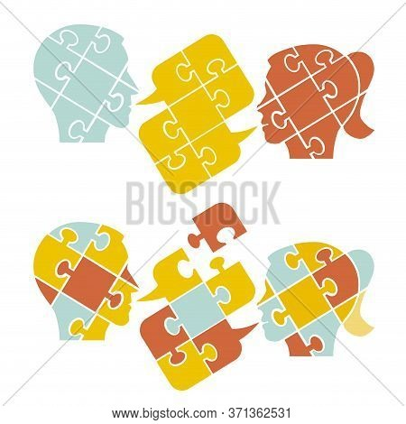 Couple,psychology Of Understanding And Dialog, Puzzle Concept.  Two Male Stylized Head Silhouettes W