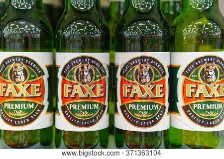 Tyumen, Russia-june 5, 2020: Faxe Beer Cans On Shelves In A Supermarket. Faxe Brewery Is A Danish Br