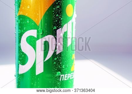 Tyumen, Russia-may 20, 2020: Can Of Sprite Logo Close-up With Water Drops. Fresh Tasting, Sparkling