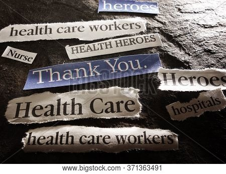 News Headlines With Thank You Message For Hero Healthcare Workers During The Coronavirus Pandemic