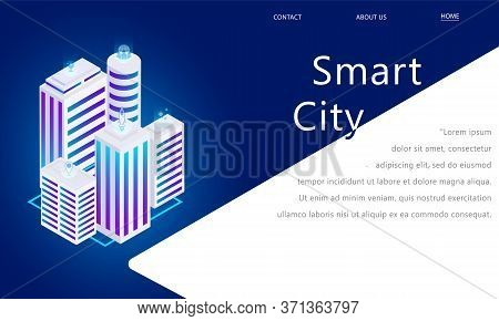 Smart City. White City Buildings. City On A Blue Background In Isometric With Business Icons. City A
