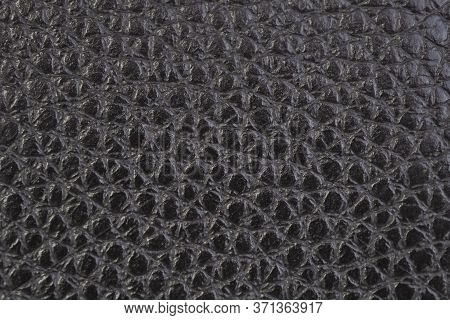 Leather Background, Black, Shiny, Bumpy, Textured. Bonded Reconstituted Leather. Substitute For Genu