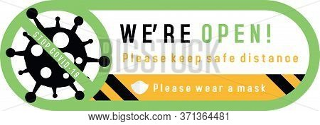 We Are Open Sign Plate On Facade Door Of Shop, Store, Cafe Or Restaurant. Signs On The Door Of   Sto