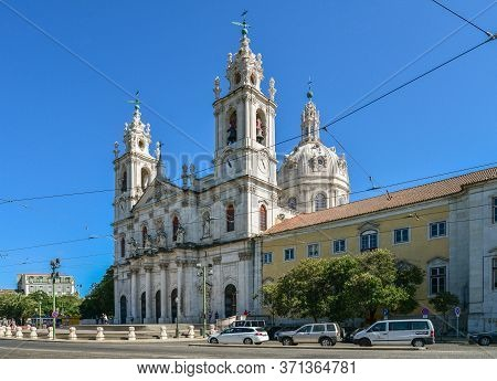 Lisbon, Portugal - July 4, 2019: View On The Basilica Da Estrela From The Streets Of Lisbon, Portuga