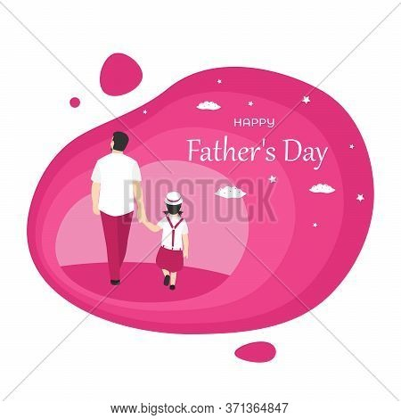 Father And Daughter Walking Together, Isolated On Pink Background, Handsome Father Holding His Littl