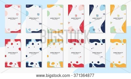 Bundle Minimalist Modern Abstract Background, Wave & Liquid Shape With Memphis Style. Suitable For S