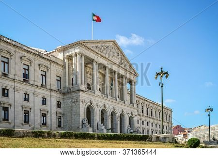 Lisbon, Portugal - July 4, 2019: Palace Of Sao Bento At Lisbon, Seat Of The Assembly Of The Republic
