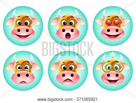 Icons Set Of Cute Cartoon Emotion Cow On Blue Background. Happy, Cry, Surprised, Love, Idea, Angry E