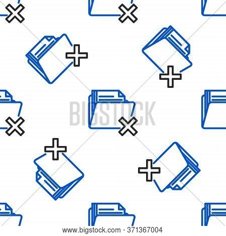 Line Delete Folder Icon Isolated Seamless Pattern On White Background. Folder With Recycle Bin. Dele